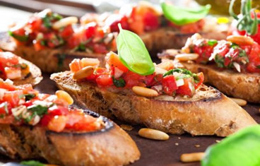 Bruschetta with mozzarella as a drop off appetizer
