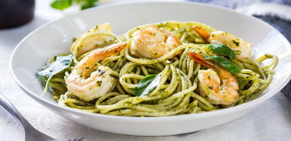 Spaghetti with shrimp for drop-off catering